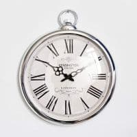 Round Silver Pocket Wall Clock Roman Numerals